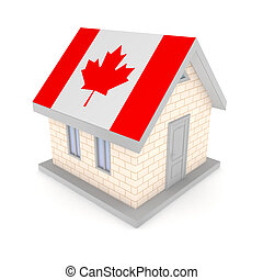 Small house with a flag of Canada on a roof.Isolated on...
