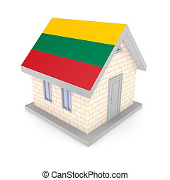 Small house with a flag of Lithuania on a roof.
