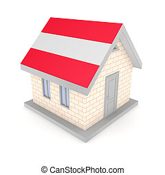 Small house with austrian flag of on a roof.
