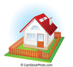 Small house with fence