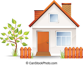 Small house with nice green court yard and fence, vector ...