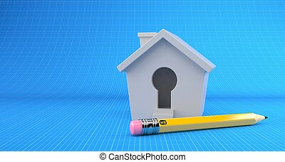 Small house with pencil on blueprint background