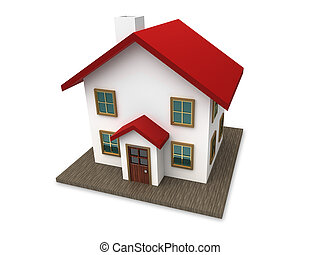 Small house with red roof on a white background.