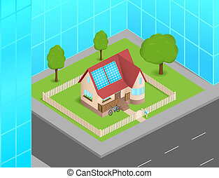 Small house with solar cells between skyscrapers