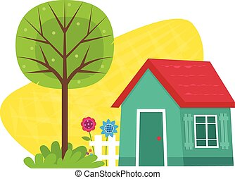 Small House With Tree - Small blue house with a fence,...