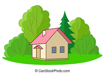Small house with trees - House on forest glade with trees,...