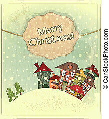 small houses and snow - Christmas card - snow and small...