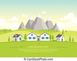 Small houses by the mountains - modern vector illustration
