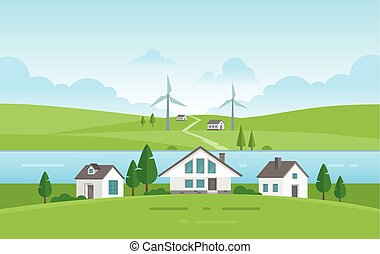 Small houses by the river - modern vector illustration
