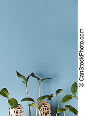 small houses with growing young plants on blue background