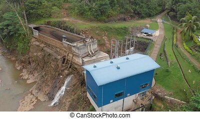 Small hydropower plant in Asia in the forest of Sri Lanka.