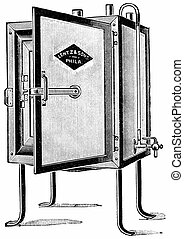 Small incubator sufficiently large for individual work, vintage engraving.
