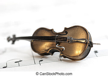 Small instrument and music notes - Classical instrument...