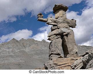 Small Inukshuk marking Wilcox Pass trail, Jasper National Park, Alberta, Canada.