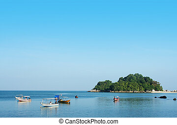 small island and boat