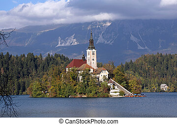 Bled - Small Island at Bled Lake in Slovenia
