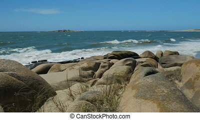 Small island close to the coast in Cabo Polonio national...