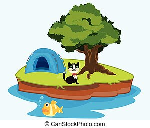 Small island in ocean - The Tent on small island in...