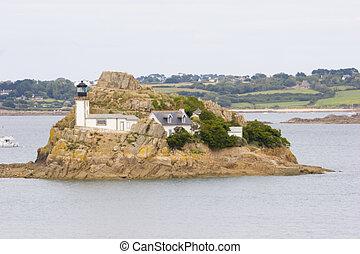 small island in the sea in brittany