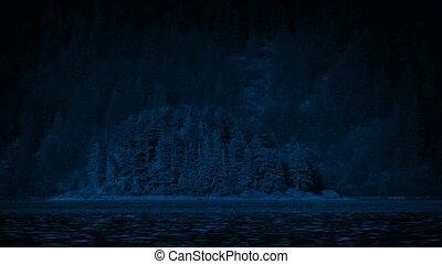 Small Island On The Lake At Night