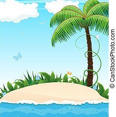 Small island with a palm tree