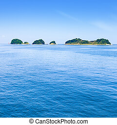 Small islands on sea and blue sky. Toba bay, Japan.