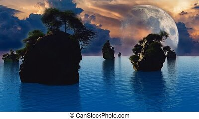 Small islands with green trees. Big moon rising
