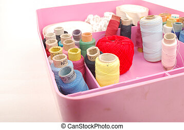 Small items for sewing in a box