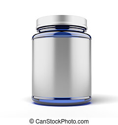 Small Jar for sport supplements isolated on a white ...