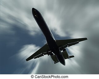 Small Jet 3 - Small Jet Airliner flying overhead on a...