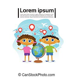 Small Kids Holding Globe Over World Map, Children Learning Geography Hobby
