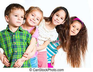 small kids on white