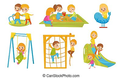 Small Kids Playing In The Playground Vector Isolated Illustrations.