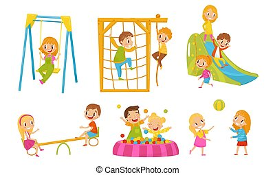 Small Kids Playing In The Playground Vector Isolated Illustrations