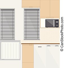 small kitchen interior with furniture and kitchen appliances...