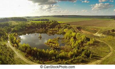 small lake, aerial view