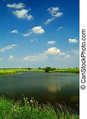 small lake under a beautiful blue sky