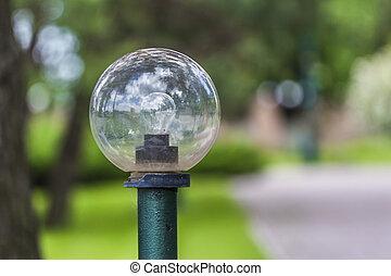 small lantern in a garden