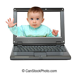 small laptop with baby