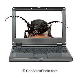 laptop with bag in software metaphor