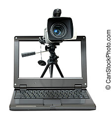 laptop with video camera on tripod