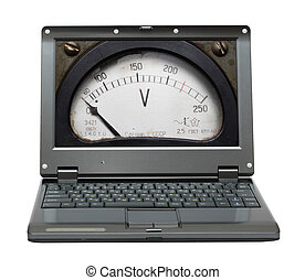 laptop with voltmeter scale on screen
