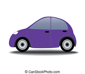 Small lilac female car, vector illustration