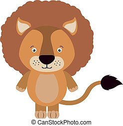 Small lion, illustration, vector on white background.