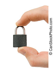 Small lock in hand, isolated on white background