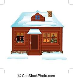 Small lodge in winter