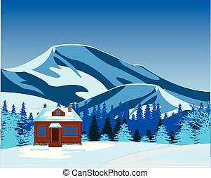 Small lodge misplaced amongst snow and mountains