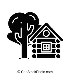 Small log cabin black icon, concept illustration, vector flat symbol, glyph sign.