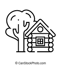 Small log cabin line icon, concept sign, outline vector illustration, linear symbol.