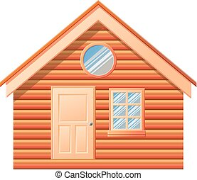 Small log cabin vector icon